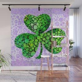 Green Shamrock Art by Sharon Cummings Wall Mural