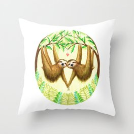 Sloths in Love Throw Pillow