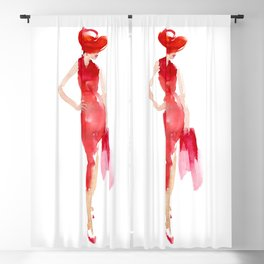 Lady in red Blackout Curtain