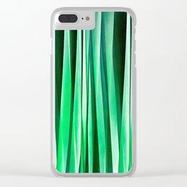 Aquamarine Ocean Stripy Pattern Clear iPhone Case