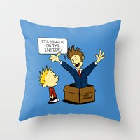calvin and hobbes Throw Pillows featuring Calvin and the Doctor by sugarpoultry