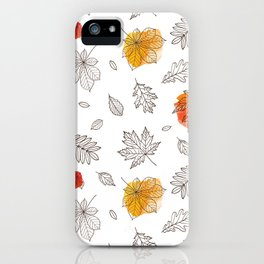 Hand sketch black orange red fall leaves iPhone Case