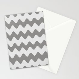 Pantone Pewter Gray Soft Zigzag Rippled Horizontal Line Pattern Stationery Cards