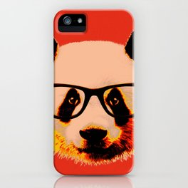 Panda with Nerd Glasses in Red iPhone Case