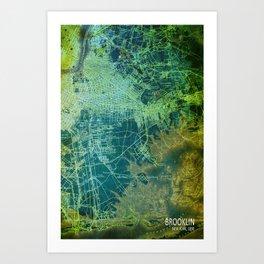 Brooklin 1898 antique map, old green map decoration Art Print