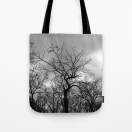 Witchy black and white tree Tote Bag