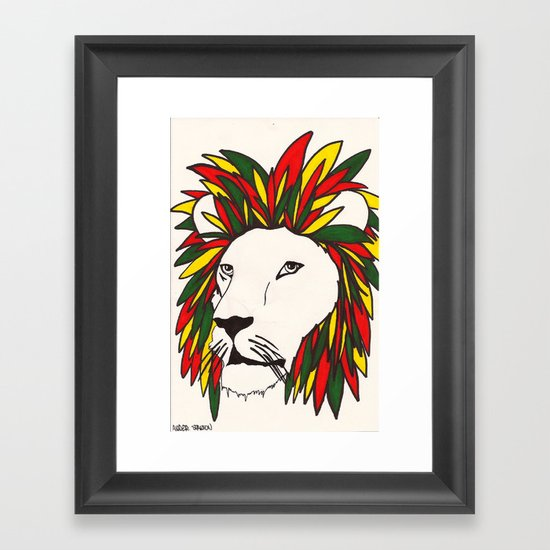 rasta lion Framed Art Print