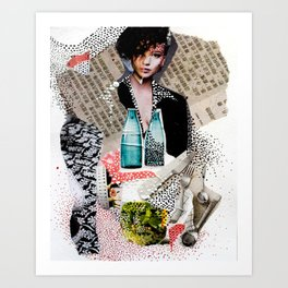 Two Bottles - Magazine Collage Painting Art Print