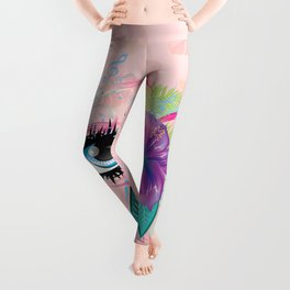 Blue eye with long eyelashes, flowers, musical notes and butterflies Leggings