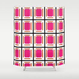 Pink Organs Black Checked and Lined Pattern Retro Shower Curtain