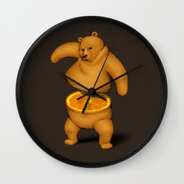 Orange Bear Wall Clock
