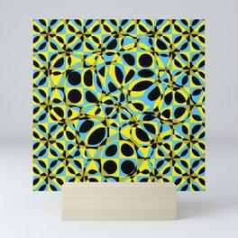 yellow blue circle pattern Mini Art Print