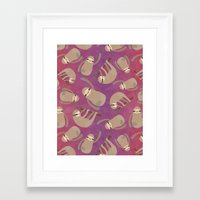 sloths Framed Art Prints featuring Happy Little Sloths by ponychops
