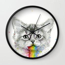 Kitten Puking Rainbows Cat Rainbow Vomit Wall Clock