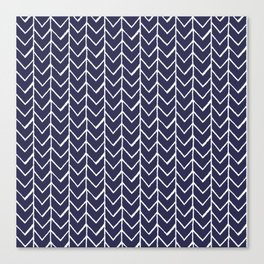 Herringbone Blue And White Canvas Print