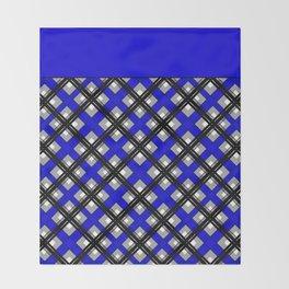 Combo black blue plaid Throw Blanket
