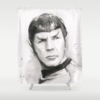 spock Shower Curtains featuring Spock Portrait Watercolor by Olechka