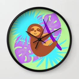 Cute sleeping baby sloth, tropical monstera leaves. Exotic rainforest illustration. Wall Clock