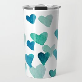 Valentine's Day Watercolor Hearts - turquoise Travel Mug