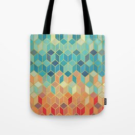 Colorful Squares with Gold - Friendly Colors and Marble Texture Tote Bag
