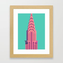 Chrysler Building New York Art Deco - Green Framed Art Print