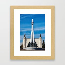 Space rocket Vostok on launch pad Framed Art Print