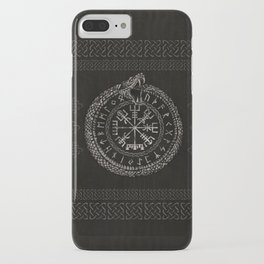 Vegvisir with Ouroboros and runes iPhone Case