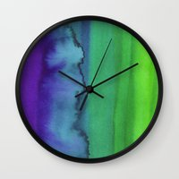 watercolour Wall Clocks featuring Watercolour by Amber Nuttall