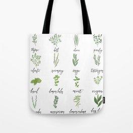 Herb Chart | Whimsical Fresh Herb Chart | Handlettered Tote Bag