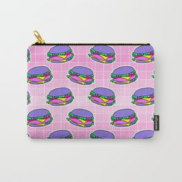 Psychedelic burger / Pink Grid Carry-All Pouch