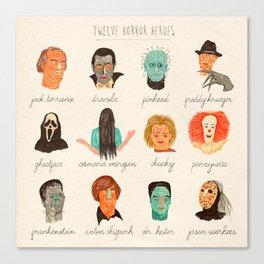 Twelve Horror Heros  Canvas Print