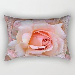 Blush rose with textured blossoms Rectangular Pillow