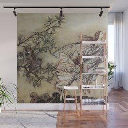 """""""Fairies Tiff with the Birds"""" by Arthur Rackham Wall Mural"""