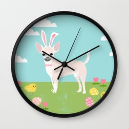 Chihuahua dog breed easter bunny dog costume pet portrait spring chihuahuas cream coat Wall Clock