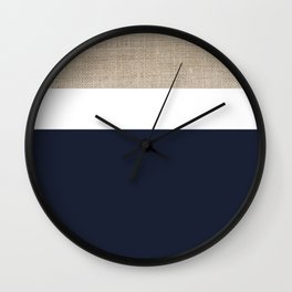 Faux Burlap, White, and Navy Minimalist Color Block 2  Wall Clock