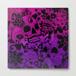 Sugar Skulls Purple Metal Print