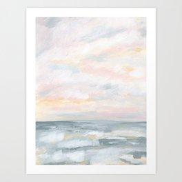 You Are My Sunshine - Gray Pastel Ocean Seascape Art Print