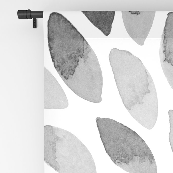 Watercolor brush strokes - black and white Blackout Curtain