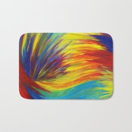 RAINBOW EXPLOSION - Vibrant Smile Happy Colorful Red Bright Blue Sunshine Yellow Abstract Painting  Bath Mat