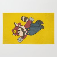racoon Area & Throw Rugs featuring Super Mario Racoon by sbs' things