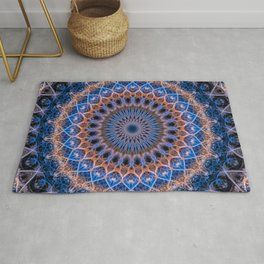 Pretty mandala in blue and orange Rug