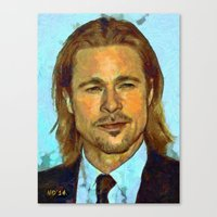brad pitt Canvas Prints featuring Brad Pitt II by Nick Arte