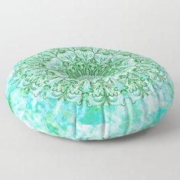 Ocean Aqua Blue Watercolor Mandala , Relaxation & Meditation Turquoise Flower Circle Pattern Floor Pillow