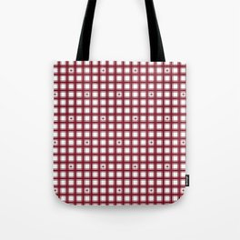Red Pillow Ticking with Snowflakes Tote Bag