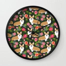 Welsh Corgi hawaiian print pattern florals tropical summer dog breed pet portrait Wall Clock
