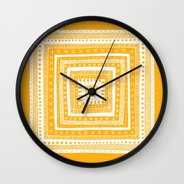 bright orange patterned square Wall Clock