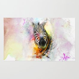 Zebra Splash in Water Color Rug