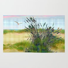 Plaid Beachscape with Seagrass Rug
