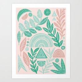 Blush Geometric Botanical Art Print