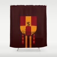 gryffindor Shower Curtains featuring gryffindor crest by nisimalotse